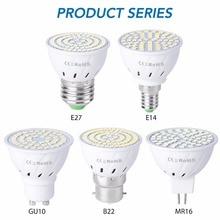 GU10 светодиодный E27 лампа E14 Точечный светильник Лампа 48 60 80 светодиодный s lampara 220V GU 10 bombillas светодиодный MR16 gu5.3 лампада led точечный светильник B22 5W 7W 9W