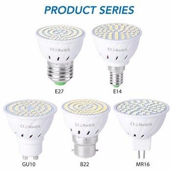 GU10 LED E27 Lamp E14 Spotlight Bulb 48 60 80leds lampara 220V GU 10 bombillas led MR16 gu5.3 Lampada Spot light B22 5W 7W 9W 1