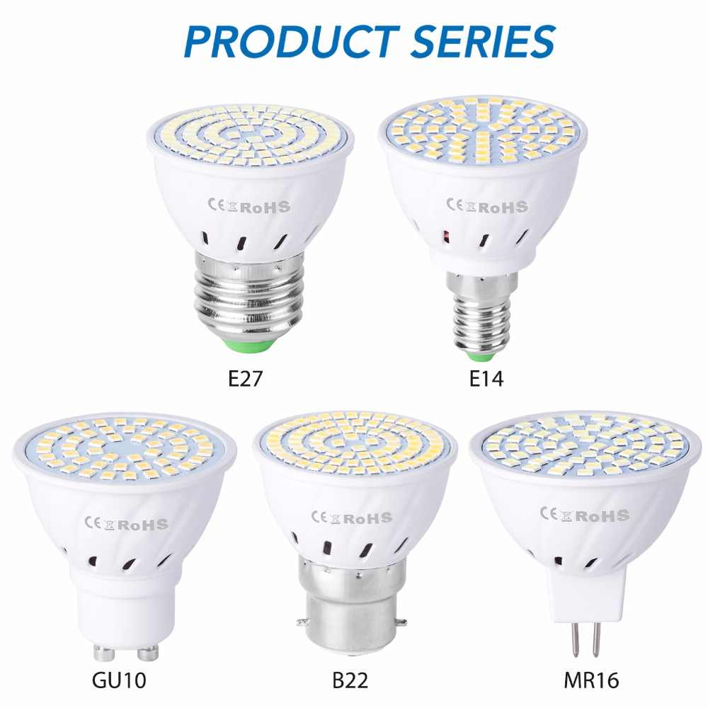 GU10 LED E27 Lampu E14 Bohlam Spotlight 48 60 80LED Lampara 220V Gu 10 Bombillas LED MR16 Gu5.3 lampada Lampu B22 5W 7W 9W