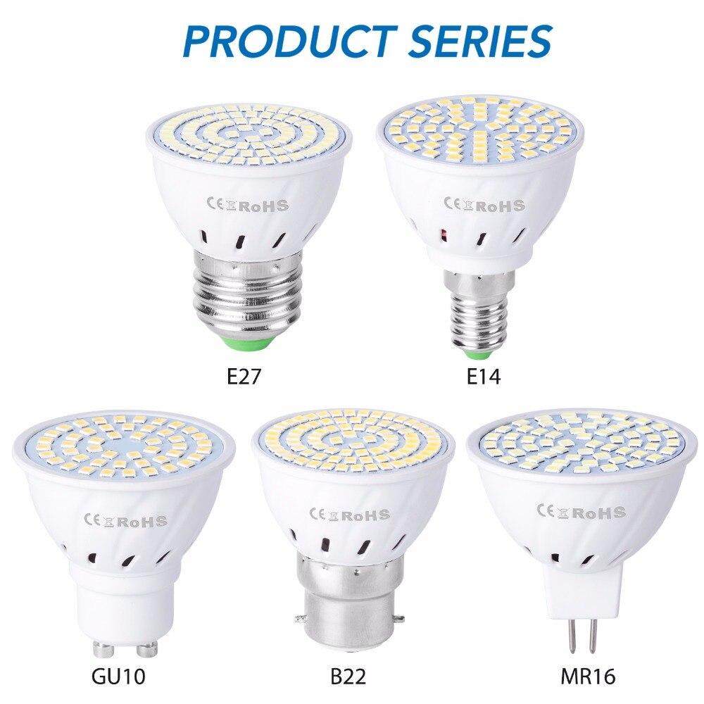 GU10 LED E27 โคมไฟ E14 Spotlight หลอดไฟ 48 60 80 LEDs lampara 220V GU 10 bombillas LED MR16 gu5.3 lampada จุด B22 5W 7W 9W