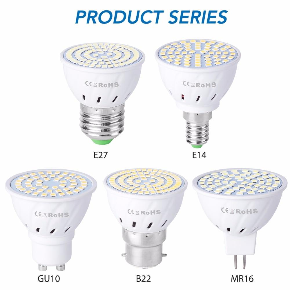 Gu10 led e27 lâmpada e14 spotlight bulbo 48 60 80leds lampara 220v gu 10 bombillas led mr16 gu5.3 lampada luz de ponto b22 5w 7w 9w