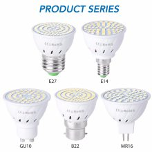GU10 LED E27 โคมไฟ E14 Spotlight หลอดไฟ 48 60 80 LEDs lampara 220V GU 10 bombillas LED MR16 gu5.3 lampada จุด B22 5W 7W 9W(China)
