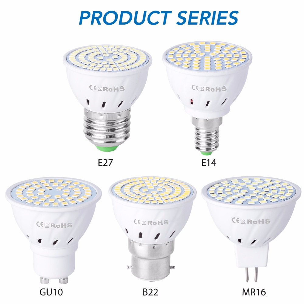 Lampe E27 GU10 220 V, ampoule de projecteur E14 48 60 80 s lampara V GU 10 bombillas