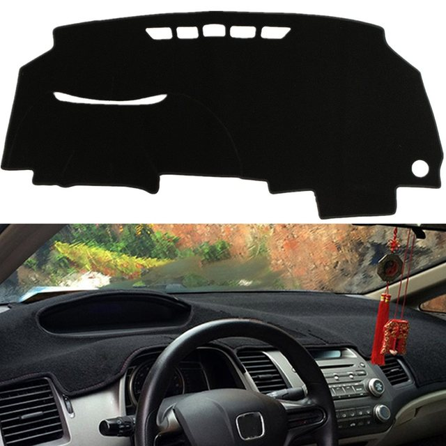 Black Dash Mat Dash Cover Mat Dashboard Cover Polyester Fiber For Honda /Civic 8th 2006 - 2010
