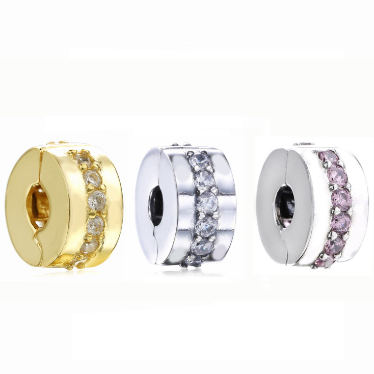 2018 frühling 100% 925 Sterling Silber 4 Farben Glänzende Pfad Clip Charme Fit original pandora armband armreif Perle DIY schmuck