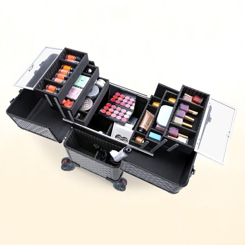 Aluminium Valise Boîte b Cas Roulant up Maquillage Avec Roues Outils À Abs Cadre Bagages Chariot Make A Capacité En Grande Cosmétique Sac Beauté Owqx5wYA