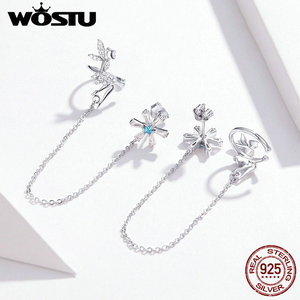 Image 5 - WOSTU 100% 925 Sterling Silver Fairy & Flower Long Line Earrings For Women Zircon Wedding Engagement Earrings Jewelry CTE201