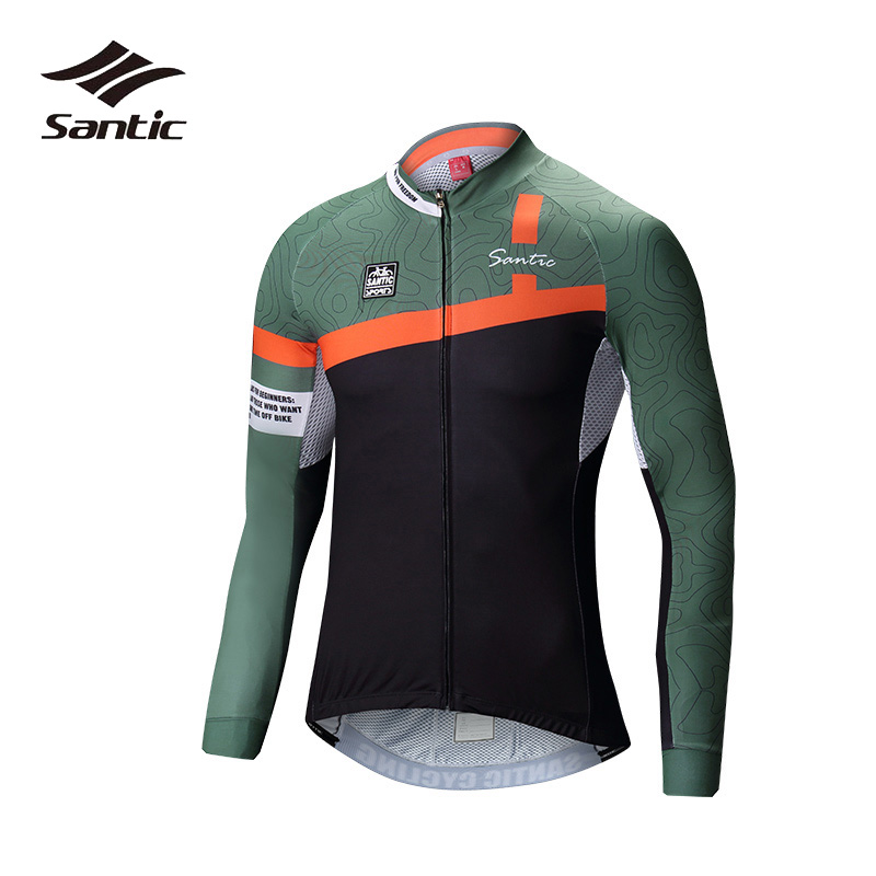 Santic Cycling Jersey Men Summer Quick Dry Bicycle Jersey White Green Long Sleeve Jersey Road Mountain Bike Tops Shirt 2XL