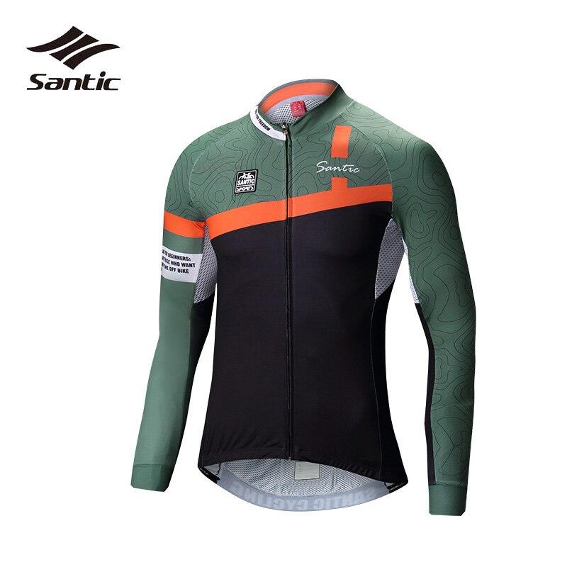 Santic maillot de cyclisme hommes été séchage rapide vélo Jersey blanc vert à manches longues maillot route VTT hauts chemise 2XL