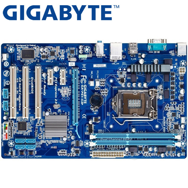 US $38 88 |GIGABYTE GA P61 S3P Desktop Motherboard H61 Socket LGA 1155 i3  i5 i7 DDR3 16G ATX Original P61 S3P Used Mainboard On Sale-in Motherboards