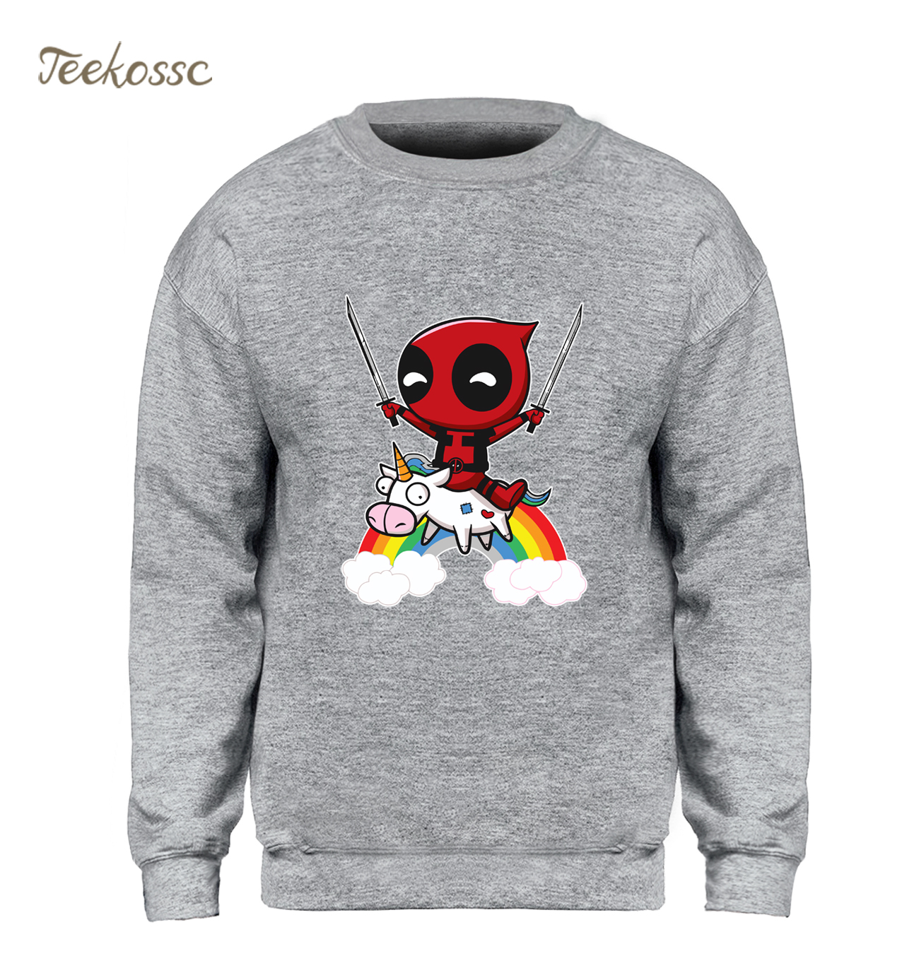 Deadpool Sweatshirt Men Funny Print Hoodie Crewneck Sweatshirts Winter Autumn Black Dead Pool Super Hero Hipster Brand Clothing