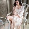 De alta Calidad de Satén de Seda de Las Mujeres Largas Túnicas Aututmn Manga Llena de Seda Albornoces Sexy Bordado de Gama Alta de La Princesa ropa de Dormir