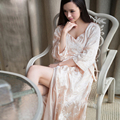 High Quality Satin Silk Women's Long Robes Aututmn Full Sleeved Silk Bathrobes Sexy High-End Embroidery Princess Sleepwear