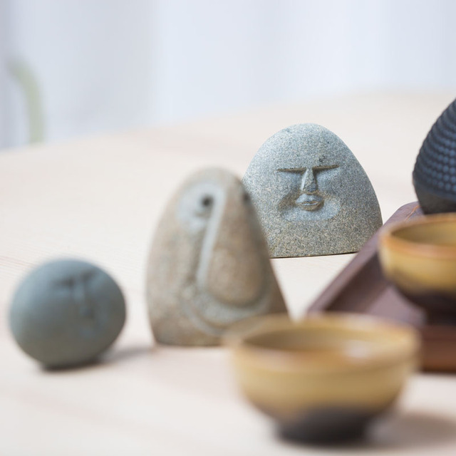 3 Different  Mood face stone Figure statue Crafts Art Home Hotel Decoration Accessories Gift Geometry Ornament hogar moderno 2