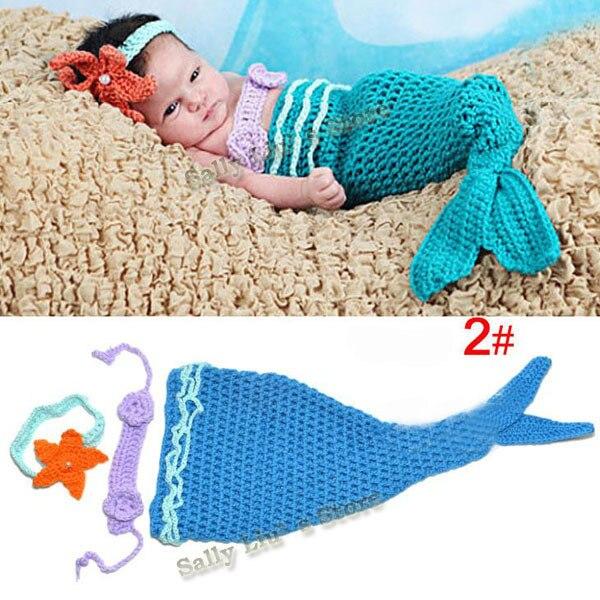 Детские младенческие одеяло «хвост русалки» ракушками вязаные крючком Костюм Русалки комплект Подставки для фотографий ручной работы животных Стиль SG026 - Цвет: Blue