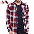 Grande tamanho 4xl 2017 outono/inverno coreano homens camisa xadrez vintage longo macho-de mangas compridas slim fit camisas casuais homem engrossar camisa yn129