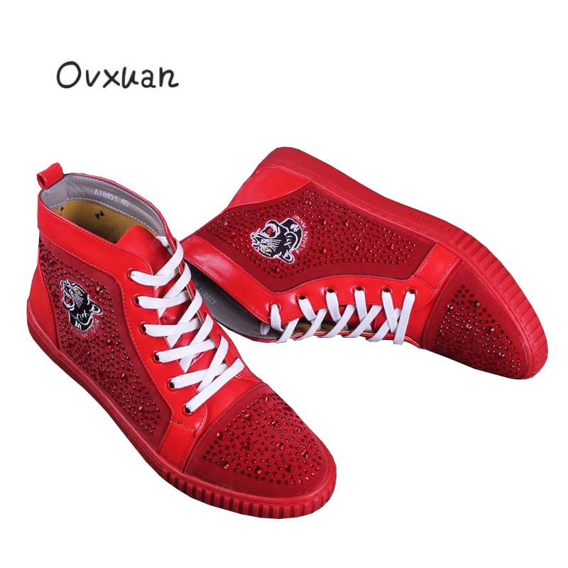 Ovxuan Genuine Leather Men Boots Rhinestone Fashion Party and Prom Men Dress Shoes Leopard Head Embroidery Men Loafers Casual fashion tassels ornament leopard pattern flat shoes loafers shoes black leopard pair size 38