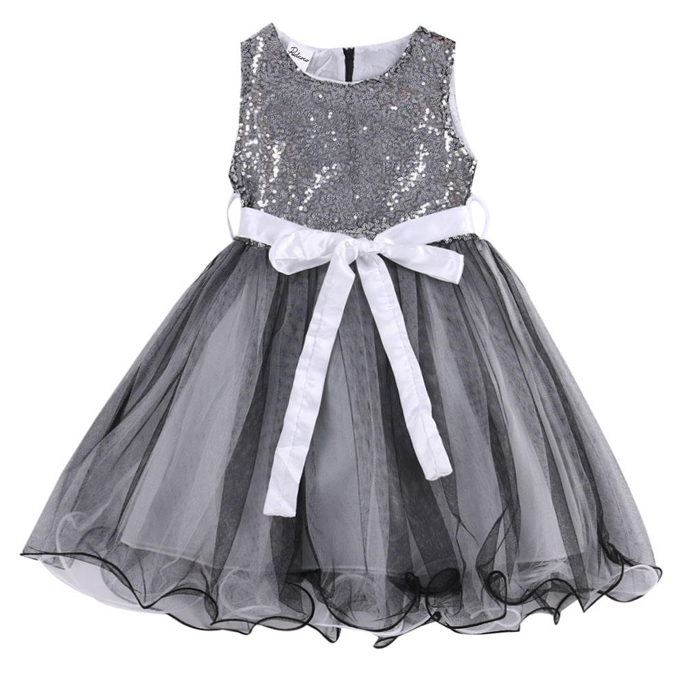 2017 Grey Fashion Sequins Baby Girls Dress Party Gown