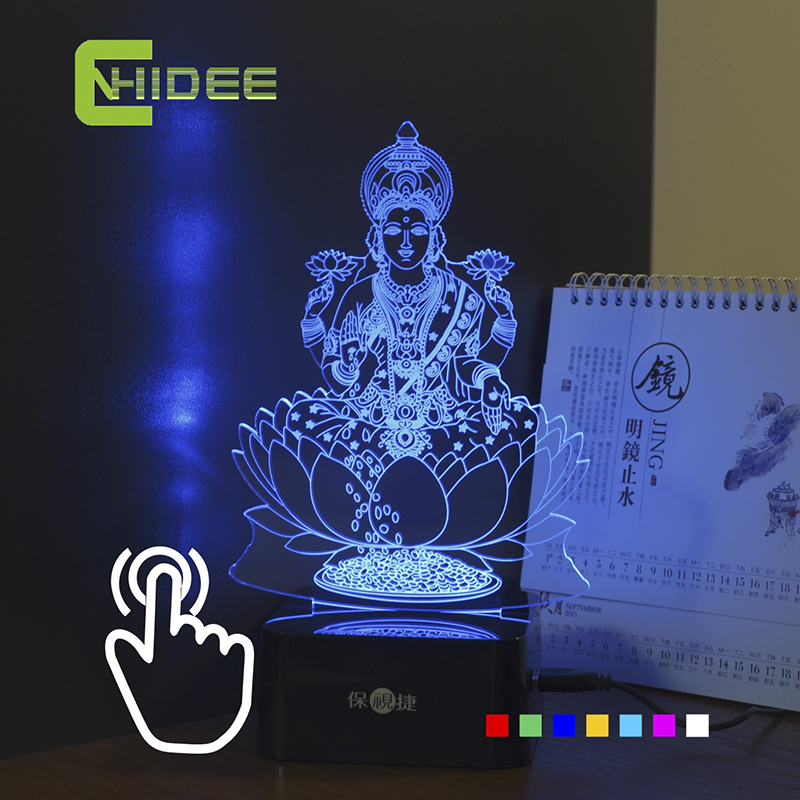 cnhidee usb christmas decor india lakshmi goddess seven colors 3d rgb lamp touch nightlight lampara as children rgb led light in table lamps from lights