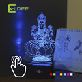 CNHIDEE Usb Christmas Decor India Lakshmi Goddess Seven Colors 3D RGB Lamp Touch NightLight Lampara as Children RGB Led Light