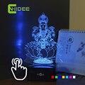 Decoração de natal Usb CNHIDEE índia Lakshmi deusa noturna Lampara , crianças de sete cores 3D RGB lâmpada Led RGB luz