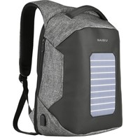 New Unisex Solar Power Backpack External USB Charge Bag Large Capacity Business Travel Anti Theft Waterproof