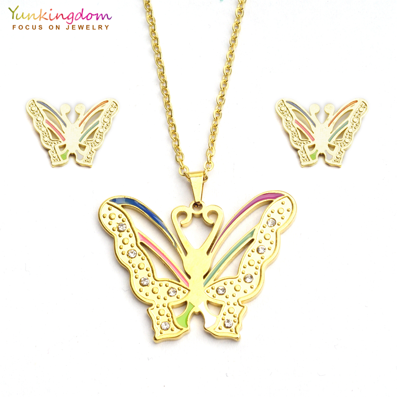 Yunkingdom elegant butterfly rhinestone jewelry sets for women fashion stainless steel pendant necklace earring set UE0152