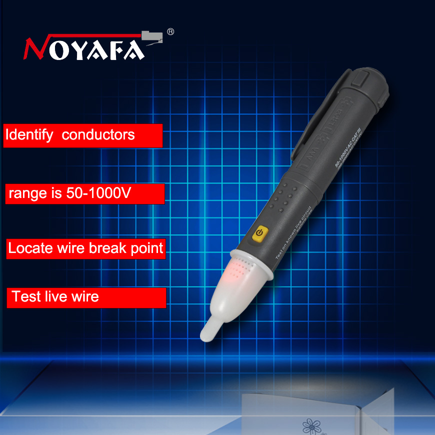 Non Contact AC Voltage detector 50~1000V Electric Voltage Tester Sensor Pen Stick LED with black colour NOYAFA NF-608