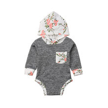 Baby girl Bodysuit Cotton Long Sleeve Body Suit Newborn Autumn Spring Hooded Bodysuits Casual Boy Bodysuit(China)