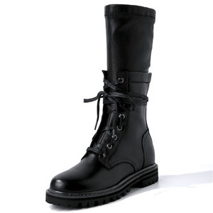Image 2 - MORAZORA 2020 new fashion winter Military boots women genuine leather lace up zip punk platform shoes woman mid calf boots