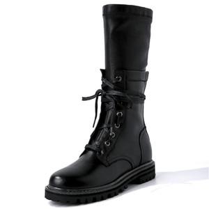 Image 2 - MORAZORA 2020 חדש אופנה חורף צבאי מגפי נשים אמיתי עור תחרה עד zip פאנק פלטפורמת נעלי אישה אמצע עגל מגפיים