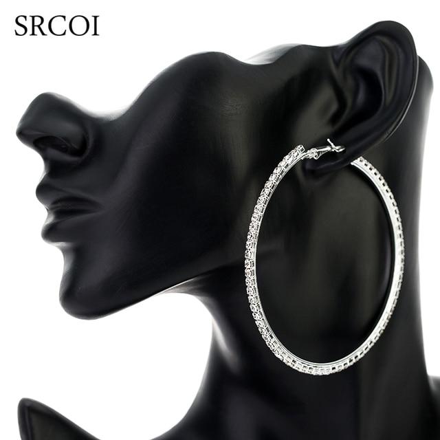 SRCOI 11.11 Fashion Big Crystal Earrings Hoops Large Hoop Earrings Silver Oorbellen Rond Creoles For Women Circle Jewelry