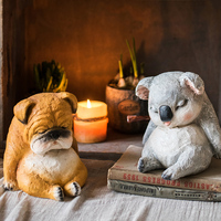 Nordic Resin Napping Dog Sculpture Sleep Doze Koala Figurines Home Animal Crafts Decoration Handicraft Wedding Gift