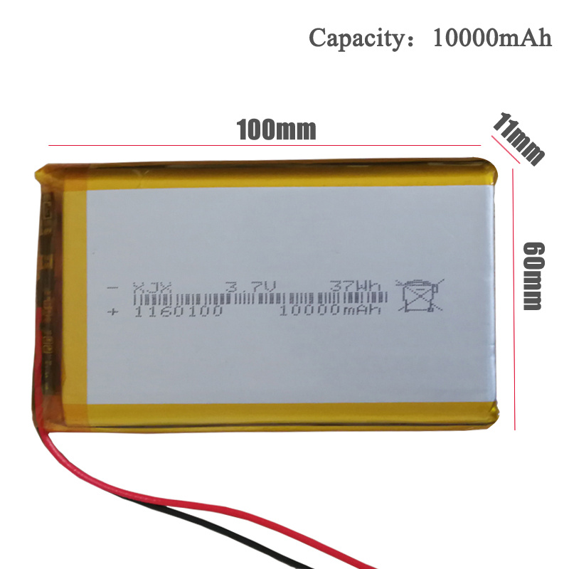New 1160100 <font><b>Battery</b></font> For Tablet PC,Power Bank,MP4,GPS Rechargeable Lithium Polymer bateria <font><b>3.7V</b></font> <font><b>10000mAh</b></font> Remplacement <font><b>batteries</b></font> image