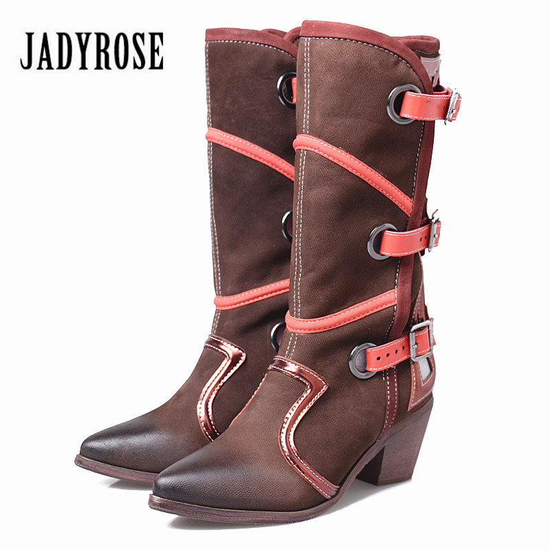 Jady Rose British Mixed Color Genuine Leather Women Martin Boots Pointed Toe Mid-Calf High Heel Boot Platform Rubber Botas Mujer jady rose vintage brown women genuine leather mid calf boot chunky high heel platform boots straps buckle decor martin botas