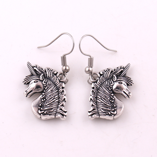 unicorn medieval unicorn magick love amulet symbol earring in drop