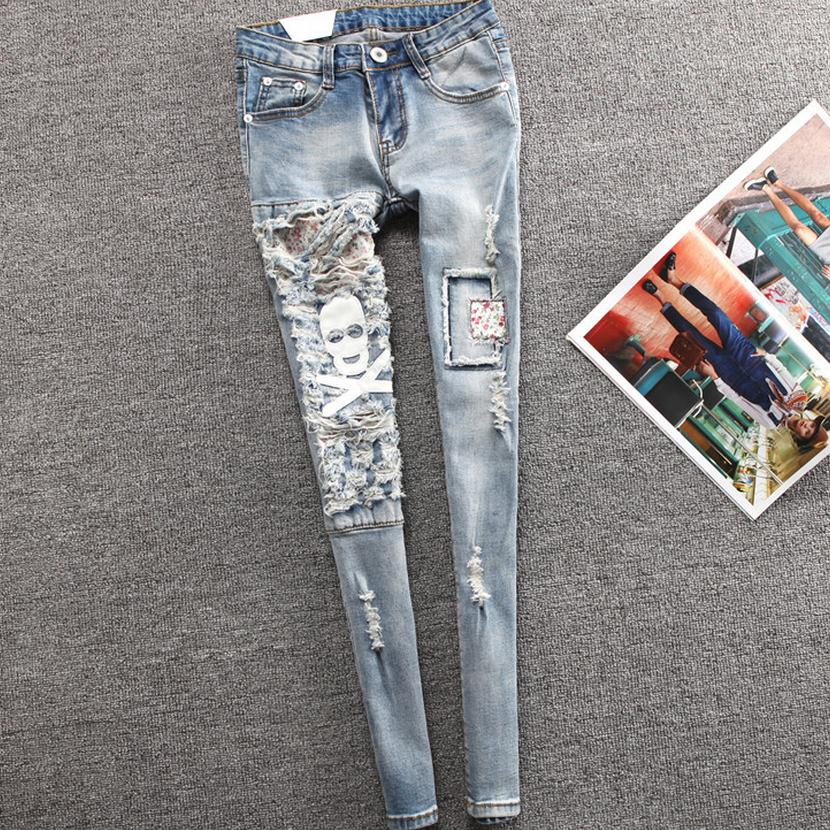 2017 New Fashion Spring Style jeans woman Casual skull denim Pants Ripped Hole Patchwork Elastic ladies skinny Pencil PantsS1393