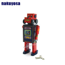 Red color Search and Rescue Robot Classic Toys Play The Drums Tin Clockwork Toy Retro Adult Collection Gift(China)