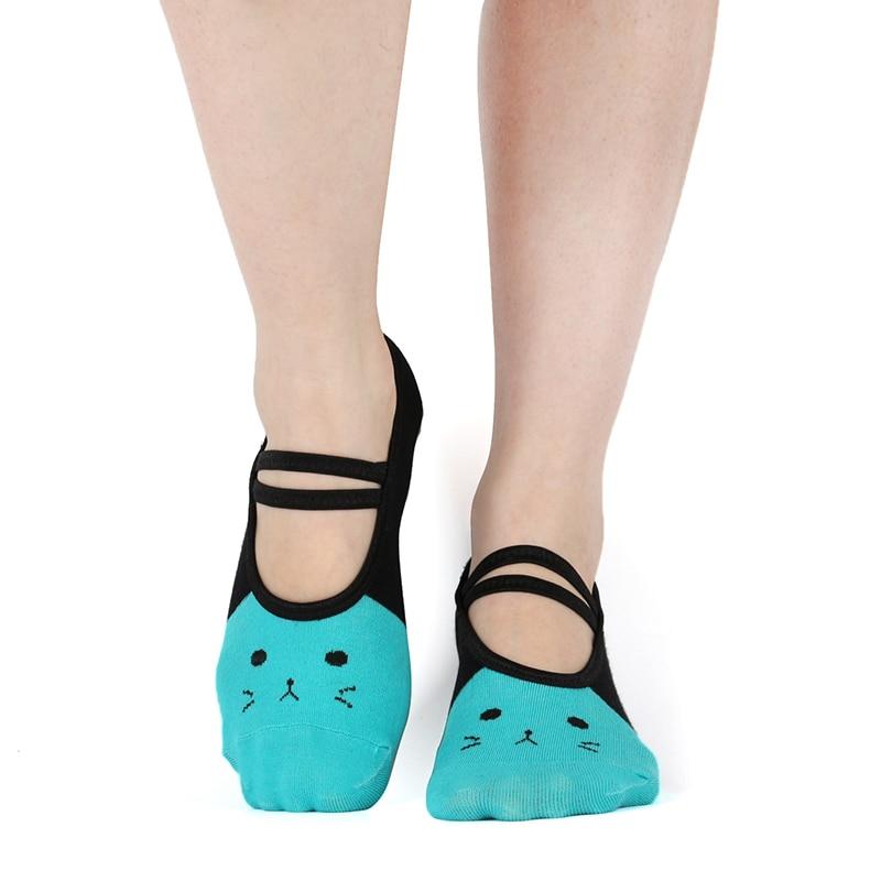 New Womens Yoga Sock Cute Cat Grip Ladies No Slip Pilates Sox Bulk Fitness Non Skid Foot Colorful Sticky Pattern Decathlon