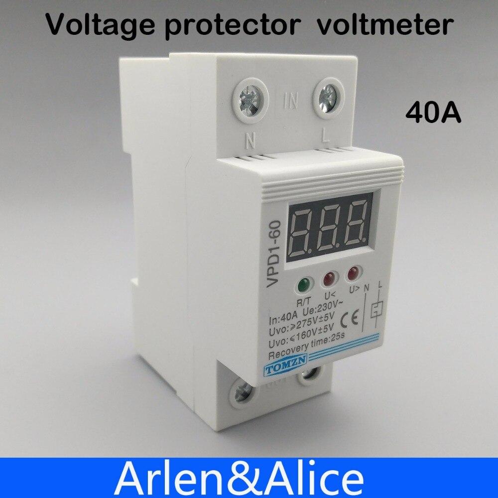 40A 220 V reconexión automática sobre voltaje y bajo voltaje relé del dispositivo de protección con voltímetro monitor de voltaje