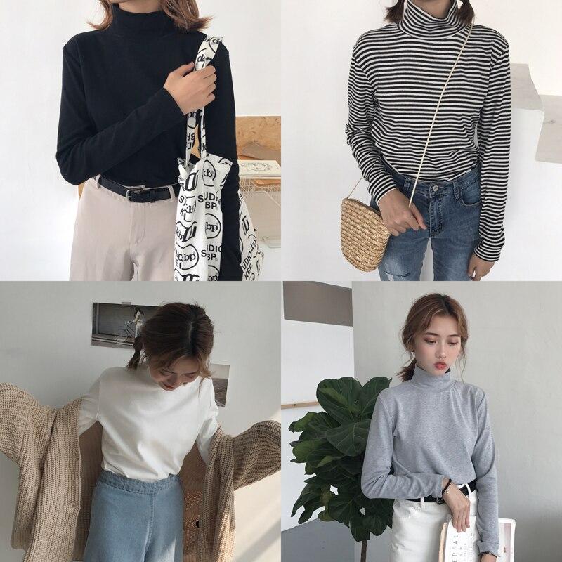 Bts 2019 Ulzzang Harajuku Shirt Women Tops Korean Autumn Womens Clothing Winter Fashion Retro Stripes High Collar T Shirt Women Buy At The Price Of 13 39 In Aliexpress Com Imall Com