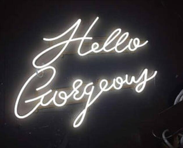 Custom Hello Gorgeous Blue White Red Pink Deep blue Purple Turquoise Green Yellow Glass Neon Light Beer BarCustom Hello Gorgeous Blue White Red Pink Deep blue Purple Turquoise Green Yellow Glass Neon Light Beer Bar
