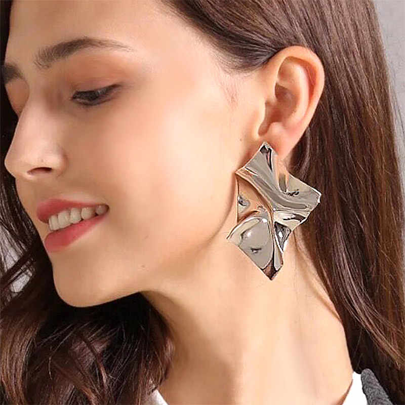 USTAR Irregular Metal ZA Earrings for women statement drop dangle Earrings female 2018 Fashion modern Jewelry hanging Oorbellen