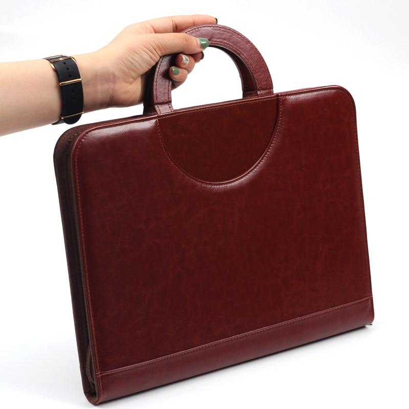 A4 Document Folder PU Leather Zipped Ring Binder