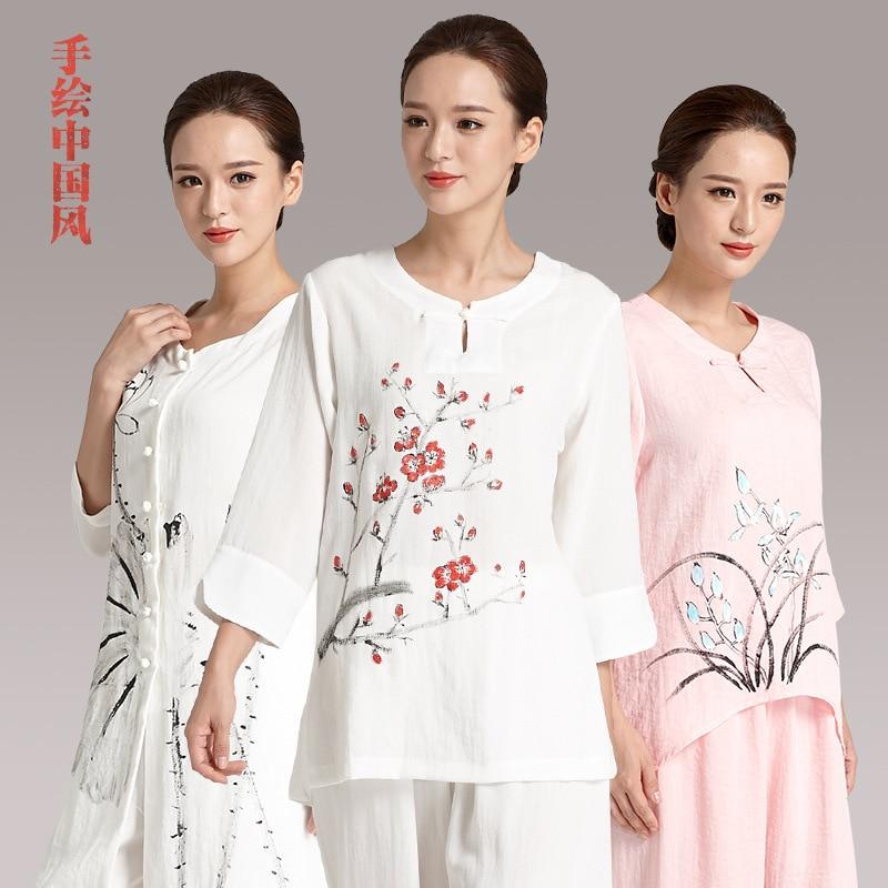 Handmade Linen Tai Chi Uniform Wushu Kung Fu Martial Art Suit Turn-up Cuff Taiji Clothes Flax Chinese Stlye Sportswear