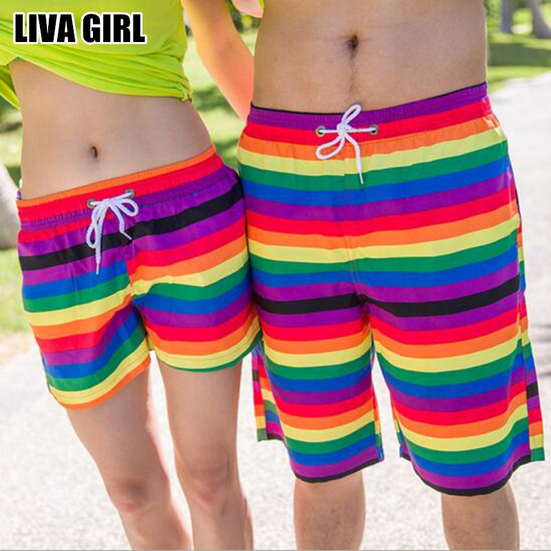Liva Girl New Arrivals Colorful Striped Beach   Shorts   Cool Summer Beach Clothings Quick Drying Male Female Couple Clothings Gifts