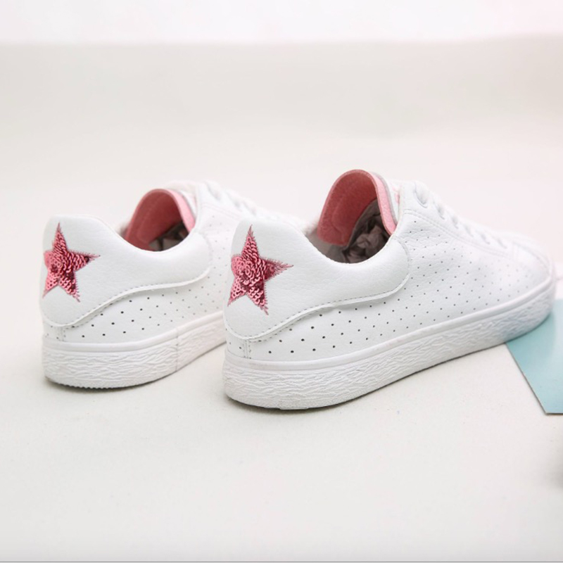 Women Casual Shoes 2018 Spring Summer Leather Shoes Woman Flats Platform Lace-Up Fashion Bling Star Breathable Women Sneakers