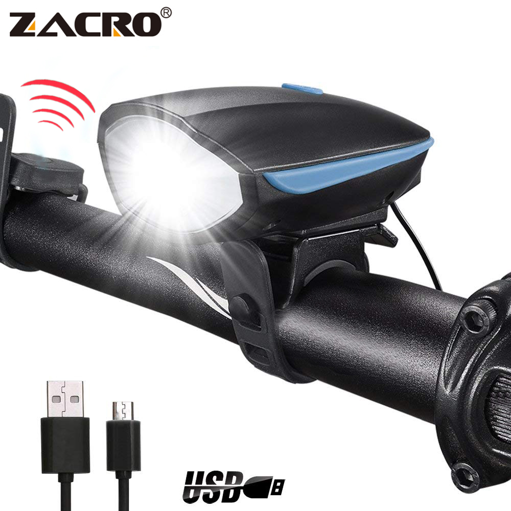 Zacro Bicycle Bell USB Charging Flashlight Bike Horn Light Headlight Cycling Multifunction Ultra Bright Electric 120db Horn Bell