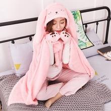 Rabbit shawl plush cloak hooded blanekt coral Cosplay thick fleece cape blanket throw kids TV leisure blanket