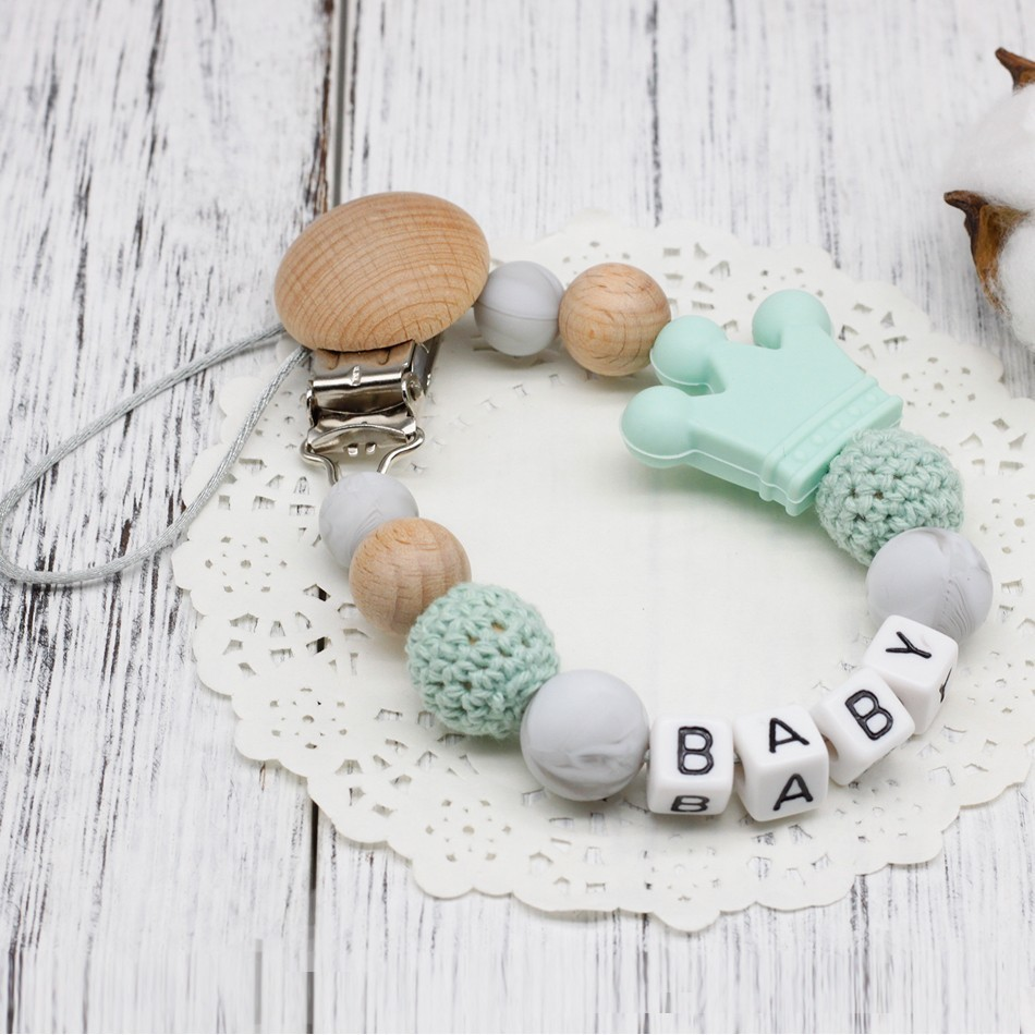 DIY Silicone Personalised Name Baby Pacifier Clips, Funny Pacifier Chain With Mouse Holder For Baby, Baby Shower Gift BPA Free(China)